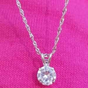 10k Solid White Gold Diamond Solitaire Necklace